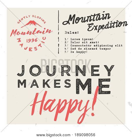 Journey makes me happy! Retro invitation card template, event / travel / journey poster / flyer template with place for texts, retro logo and lettering.