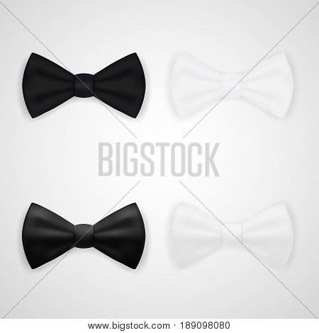 Matte And Glossy Black And White Bow Tie. EPS10 Vector
