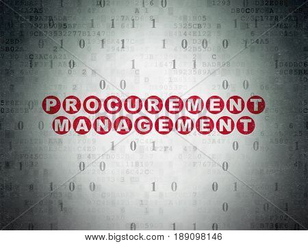 Finance concept: Painted red text Procurement Management on Digital Data Paper background with Binary Code