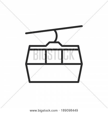 Cable car line icon outline vector sign linear style pictogram isolated on white. Ropeway symbol logo illustration. Editable stroke. Pixel perfect