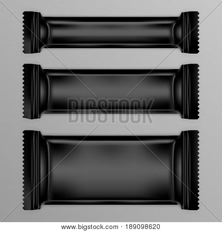 Black Polyethylene Foil Package For Chocolate Bar Or Other Food. EPS10 Vector