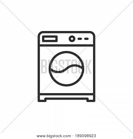 Washing machine line icon outline vector sign linear style pictogram isolated on white. Laundry symbol logo illustration. Editable stroke. Pixel perfect
