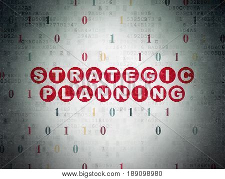 Business concept: Painted red text Strategic Planning on Digital Data Paper background with Binary Code