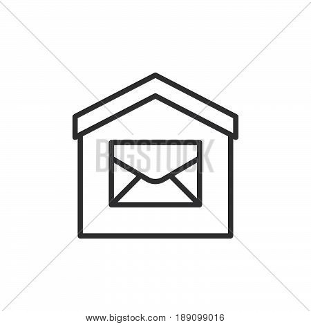House and envelope line icon outline vector sign linear style pictogram isolated on white. Post office Symbol logo illustration. Editable stroke. Pixel perfect