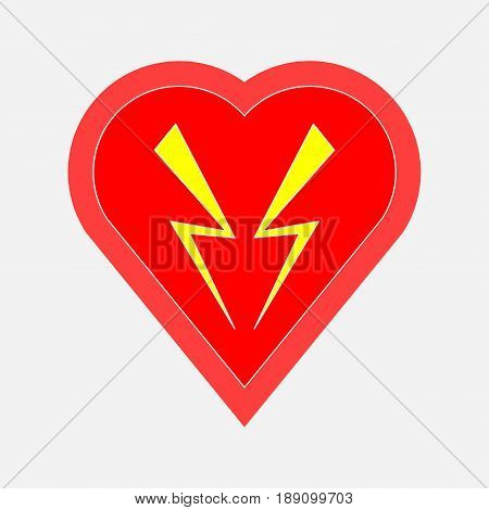 icon heart defibrillator health security rescue health healing fully editable vector image