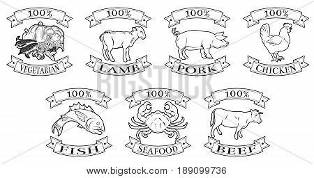 A set of 100 percent food icons packaging labels or menu illustrations for beef chicken fish pork lamb seafood and vegetarian options