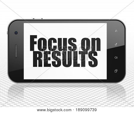 Business concept: Smartphone with black text Focus on RESULTS on display, 3D rendering