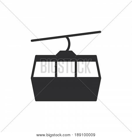 Cable car icon vector filled flat sign solid pictogram isolated on white. Ropeway symbol logo illustration. Pixel perfect