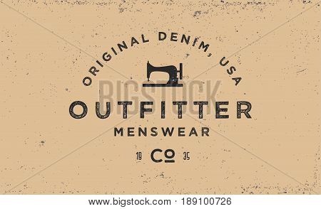Typography label for apparel company, logotype in vintage style, t-shirt print in retro 1970s style