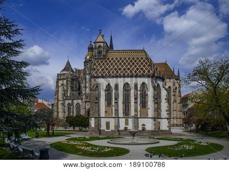 Saint Elisabeth's Cathedral (Slovakia Kosice) from the South. Square with flowers in foreground.