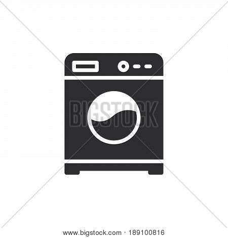 Washing machine icon vector filled flat sign solid pictogram isolated on white. Laundry symbol logo illustration. Pixel perfect