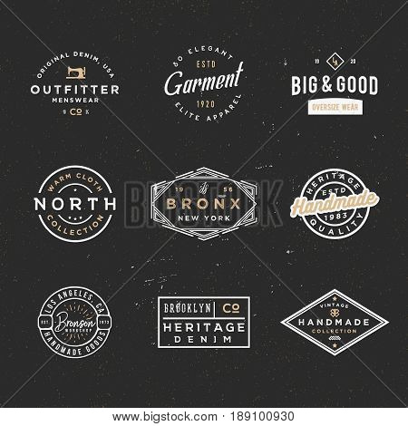 Minimal retro sale and discount badges, apparel labels, clothing badges, cloth manufacturing emblems. Good for branding projects, ads, cards, poster, flyers, events and other uses.