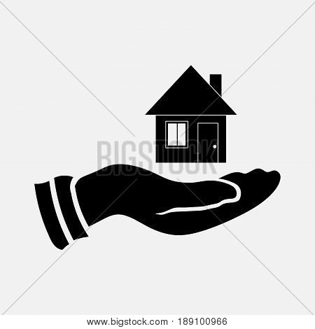 icon selling a home saving housing house in hand fully editable vector image