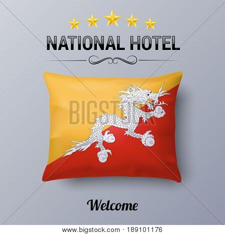 Realistic Pillow and Flag of Bhutan as Symbol National Hotel. Flag Pillow Cover with Bhutanese flag