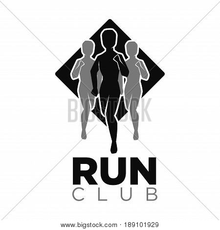 Run club vector logo template for sport running or fitness. Vector isolated icon of people silhouettes jogging in run marathon on white background