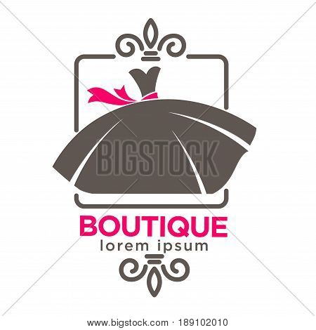 Dress boutique or fashion atelier salon logo template for dressmaker shop. Vector isolated silhouette icon of woman dress with lily crown and pink ribbon