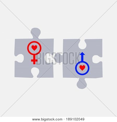 puzzles with symbols male and female gender symbols vector editable image