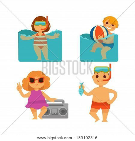 Children on summer or kids holidays vacations. Baby boy or bathing in swimming pool or ocean, girl swim in snorkeling mask or dancing and listening to music player Vector flat isolated icons set