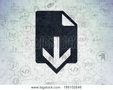 Web design concept: Painted black Download icon on Digital Data Paper background with Scheme Of Hand Drawn Site Development Icons