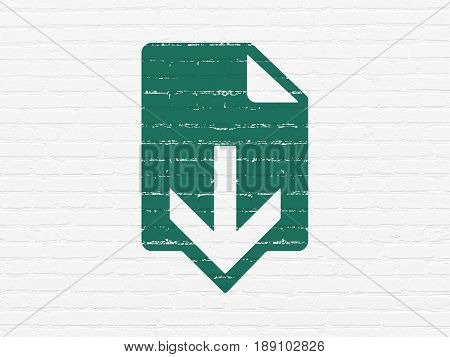 Web design concept: Painted green Download icon on White Brick wall background