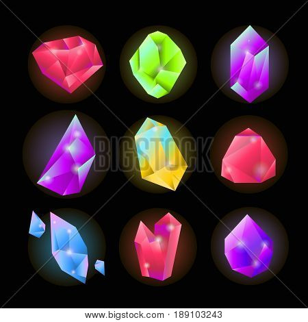 Crystals or gemstones and precious gem stones vector icons. Shining jewels and diamonds of pink ruby, blue opal and green emerald color. Vector isolated set on black background