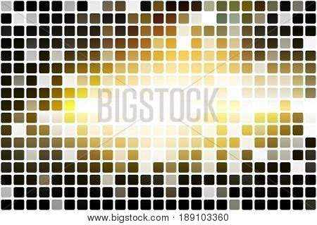 Black grey yellow white occasional opacity vector square tiles mosaic over white background