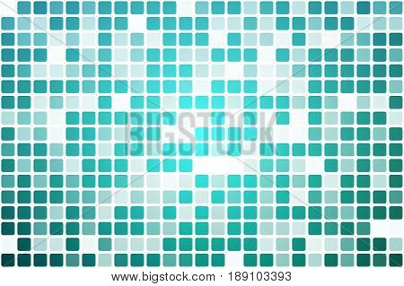 Turquoise shades occasional opacity vector square tiles mosaic over white background