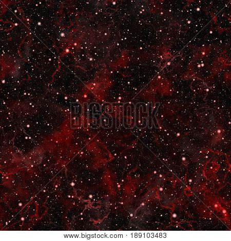 Abstract bright red universe, Glittering cloudy summer night starry sky, Shiny nebula outer space, Galactic texture background, Cosmic seamless illustration
