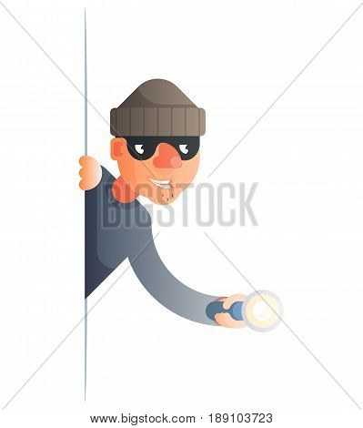 corner thief flashlight peeping out of the cartoon characters set flat design isolated vector illustration