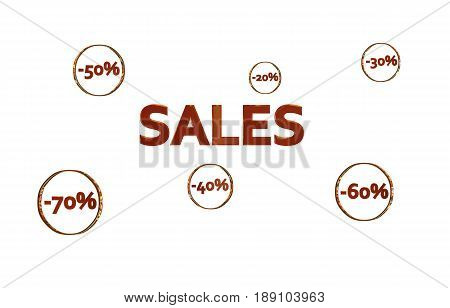 Red Sales design with discount numbers inside golden circles with white background