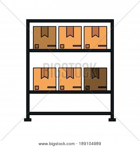 color image cartoon black shelf with sealed package vector illustration
