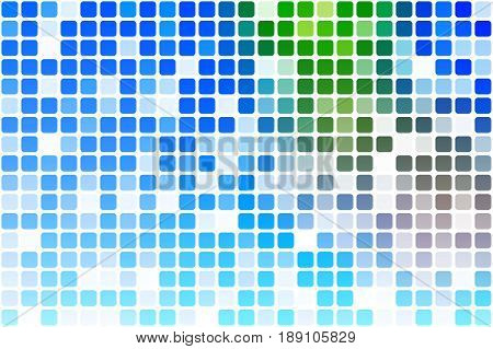 Blue green red occasional opacity vector square tiles mosaic over white background