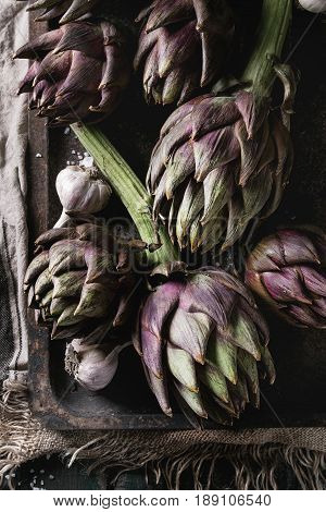 Uncooked whole organic wet purple artichokes with garlic in old rusty oven tray on textile sackcloth over dark wooden background. Rustic style. Top view
