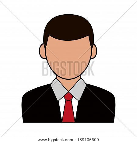 color silhouette cartoon half body faceless man with necktie vector illustration