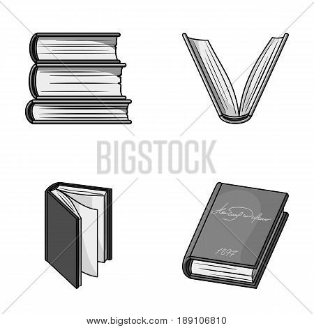 Various kinds of books. Books set collection icons in monochrome style vector symbol stock illustration .
