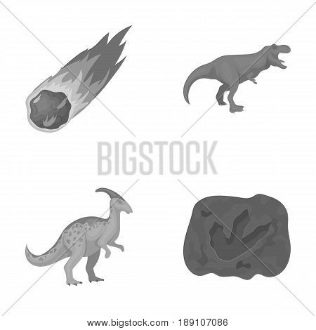 A falling meteorite, parasaurolophus, tyrannosaurus, an imprint of a dinosaur s foot. The dinosaur and prehistoric period set collection icons in monochrome style vector symbol stock illustration .