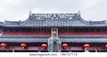 Confucius sculpture in the front of the Confucius Temple Complex, Nanjing, China.