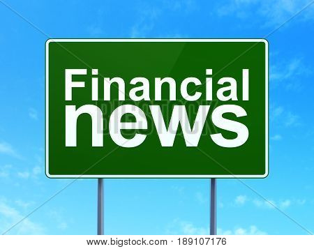 News concept: Financial News on green road highway sign, clear blue sky background, 3D rendering