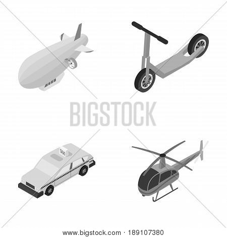 A dirigible, a children s scooter, a taxi, a helicopter.Transport set collection icons in monochrome style vector symbol stock illustration .