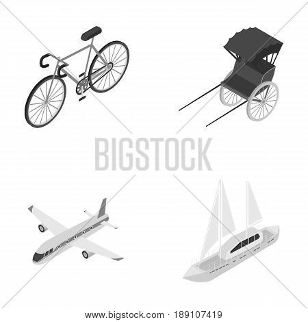 Bicycle, rickshaw, plane, yacht.Transport set collection icons in monochrome style vector symbol stock illustration .