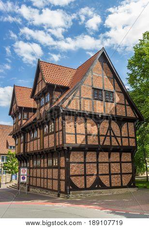 Historic Half-timbered Bulding Amtspforte In The Center Of Stadthagen