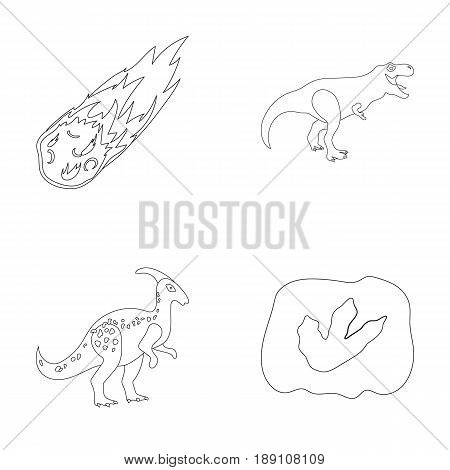 A falling meteorite, parasaurolophus, tyrannosaurus, an imprint of a dinosaur s foot. The dinosaur and prehistoric period set collection icons in outline style vector symbol stock illustration .