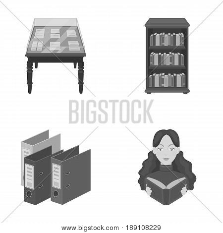 A table with old documents, bookshelves, folders, a visitor. A library and a bookstore set collection icons in monochrome style vector symbol stock illustration .