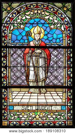 KRAPINA, CROATIA - APRIL 21: Saint Louis stained glass window in the church of Saint Catherine of Alexandria in Krapina, Croatia on April 21, 2016.