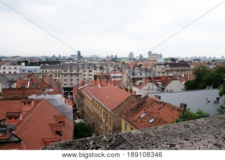 ZAGREB, CROATIA - MAY 26: Historic lower town architecture in Zagreb Croatia on May 26, 2015