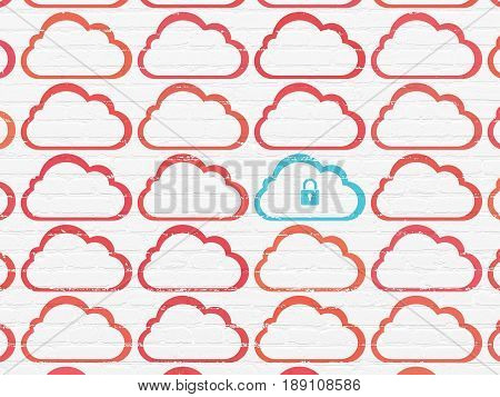 Cloud computing concept: rows of Painted red cloud icons around blue cloud with padlock icon on White Brick wall background