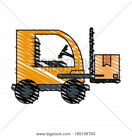 color crayon stripe cartoon forklift truck with forks transportin package vector illustration