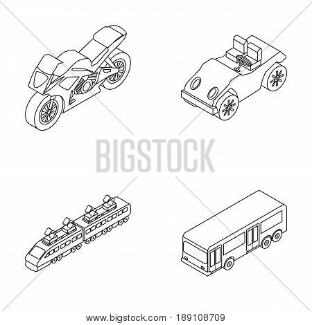 Motorcycle, golf cart, train, bus. Transport set collection icons in outline style vector symbol stock illustration .