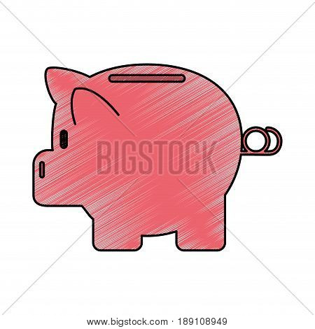 color crayon stripe cartoon side view pink piggy bank vector illustration