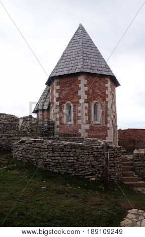 ZAGREB, CROATIA - OCTOBER 18: Chapel of St. Philip, Medvedgrad castle in Nature Park Medvednica in Zagreb, Croatia on October 18, 2015.